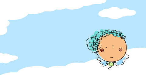 female cherub floating above the big wide sky with a dancing move suggesting she just came back from Animation