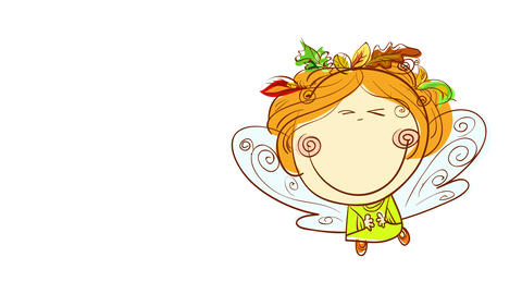 retro style girl with 70s hairdo and huge smile a¡on her round face wearing leafs on her head and an Animation