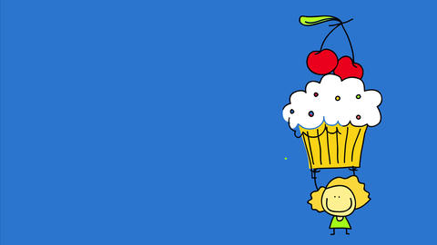 big blue screen with a tiny drawing of a blond girl holding up a big cupcake that looks delicious Animation