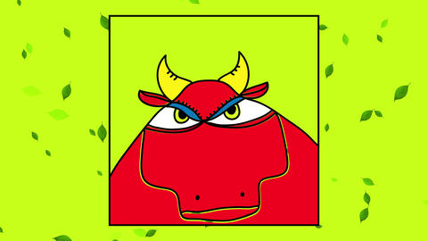 food farming or meat industry livestock publicity with the head of a red healthy bull inside a frame Animation