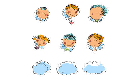 six innocent looking cherubs with angelical faces anf flying above clouds traveling to bring a good Animation
