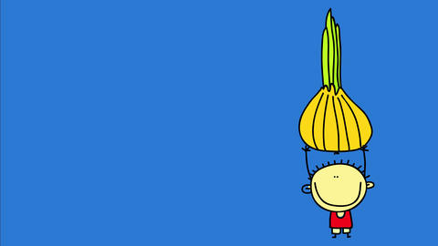 little boy with a big smile on his face and a positive attitude lifting a big onion with strength Animation