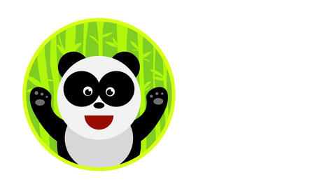 panda logo on a circled bamboo forest with a happy face and raising its cute paws in signal of joy Animation