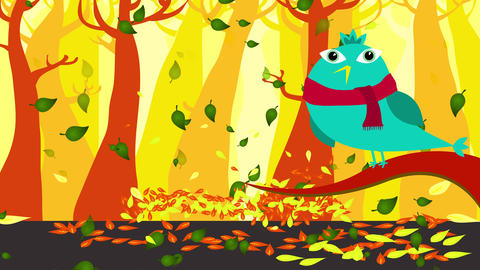 charming scene on forest in autumn with beautiful trees silhouettes and warm colors with a blue bird Animation