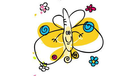 decorative banner with yellow butterfly surrounded by flowers and representing the simplicity of Animation