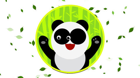 forest circle with a happy panda inside showing good attitude smiling with red mouth on windy day Animation