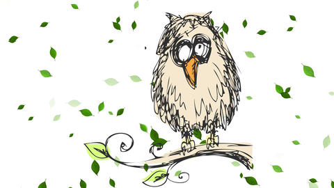 beautiful endangered owl perching outdoors on a cold place with wind moving small leaves Animation