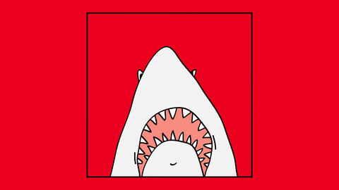 mouth of a huge white shark appearing on a frame suggesting it wants to scare someone by jumping and Animation