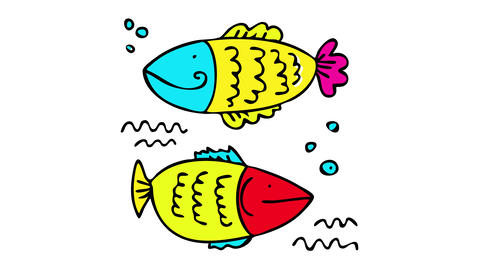 two colorful fish underwater swimming in opposite directions with similar bodies and from the same Animation