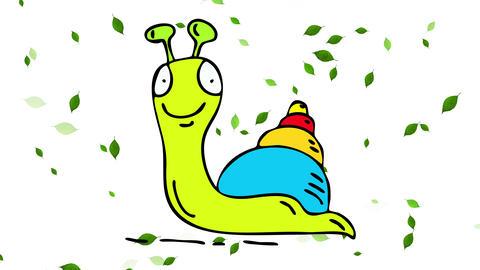 endangered specie of green slug with joyful attitude leaving a snail trail against a leaf storm Animation