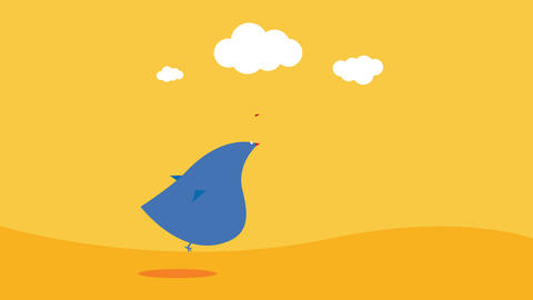 bird with blue plumage lost in the sahara over burning sand and sunny sky with little clouds Animation