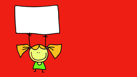 drawing of a girl isolated on the left of a vivid color background with a white signboard above her Animation