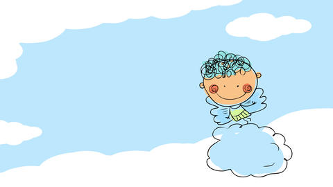 little angel in heaven going to school in a cloud on heaven with a happy expression suggesting he Animation
