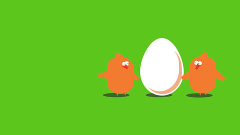 two chicken standing together by a white egg expecting a newborn chick suggesting they are nestling Animation