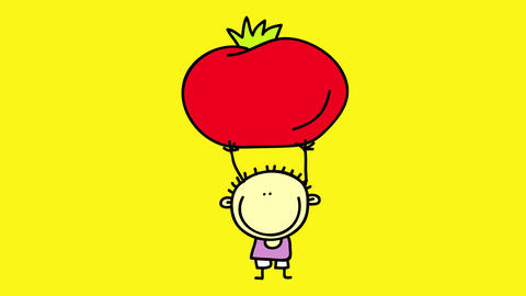 cute doodle of short boy lifting a huge red tomato over his rounded head suggesting he is trying to Animation