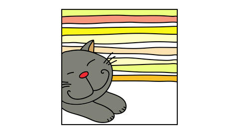 cute grey cat stretching after a long period of inactivity to get its muscles moving isolated on a Animation