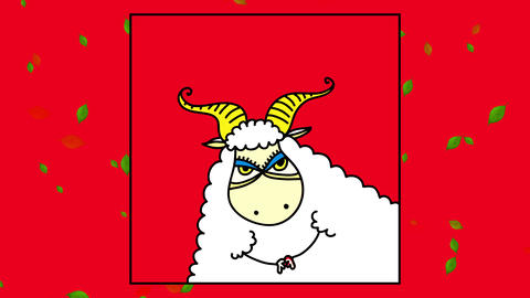 female goat with elegant looking fur and stylish horns and make up posing inside a frame in a photo Animation