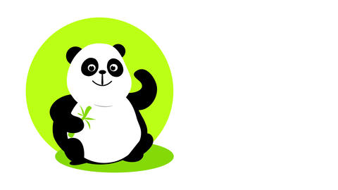 eco friendly food ad with cute panda holding a bamboo branch smiling and with a positive attitude Animation