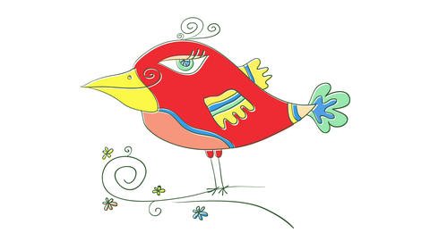 animated drawing of exotic bird forming gradually with bright colors and details forming inside a Animation