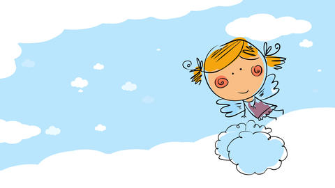 blue sky with white clouds moving along with the drawing of a young female angel forming with colors Animation