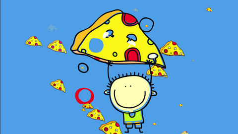 appetizing pizza slices appearing and disappearing on a blue background creating cool color contrast Animation