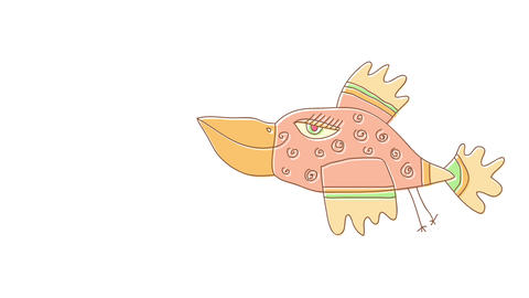 pink female bird with strange body form and long eyelashes taking off to find food for her little Animation