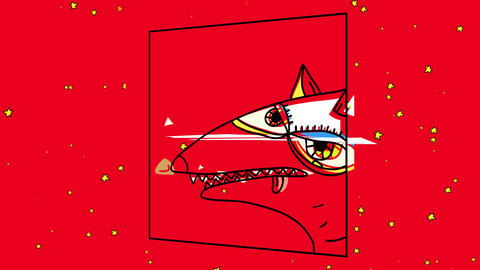 old fashioned framed illustration of the head of a white dog with its tongue out over background Animation