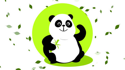 happy panda holding a bamboo branch sitting on green grass and light creating a big shadow with Animation