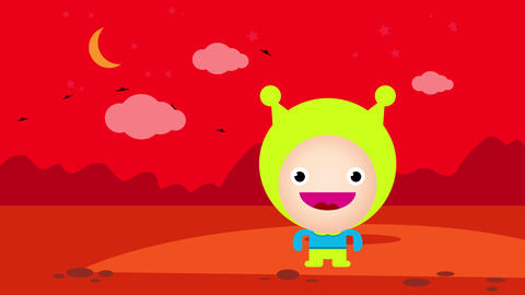painting of life on mars with a happy martian standing on the red desertic planet surrounded by dry Animation