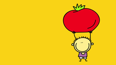 ketchup brand label for kids with a boy holding a red tomato with his tiny arms isolated to the Animation