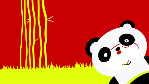 yellow bamboo jungle forming with a few sticks growing tall with a cute baby panda appearing in the Animation