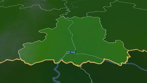Csongrád - county of Hungary. Physical Animation