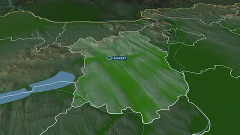 Fejér - county of Hungary. Physical Animation