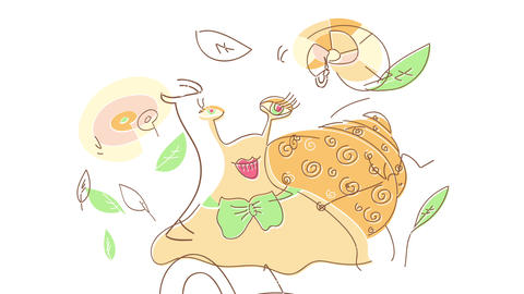 sketchy drawing of a female snail with long eyelashes wearing red lipstick and a green ribbon on her Animation