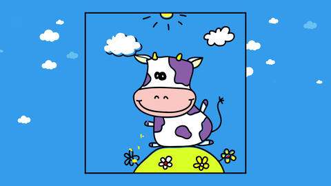 happy cow with funny eyes sitting with big belly on rounded hill with flowers over cloudy sky Animation