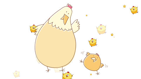 farming or agricultural ad with adorable small new chick growing and playing with its mother on a Animation