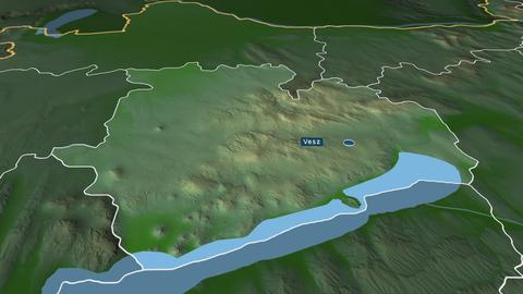 Veszprém - county of Hungary. Physical Animation