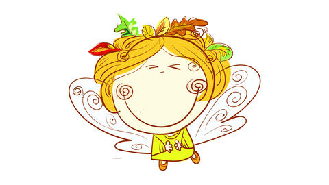 detailed drawing of a lovely girl smiling with energy dressed as an angel wearing a dry leaves crown Animation