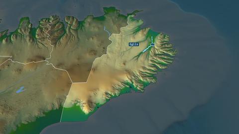 Austurland - region of Iceland. Physical Animation