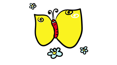 joyful butterfly spreading pollen with its long yellow wings on a daisy garden making more flowers Animation
