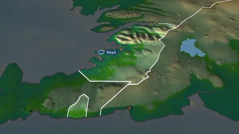 Höfuðborgarsvæði - region of Iceland. Physical Animation