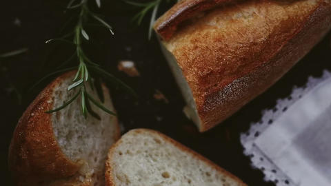Traditional french baguette, fresh organic white bread, food and breakfast Live Action