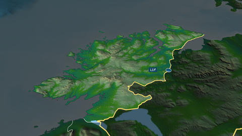 Donegal - county of Ireland. Physical Animation