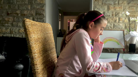 Young girl at home in distance learning with her laptop Live Action
