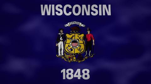 Wisconsin dense flag fabric wavers, background loop Animation