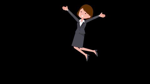Gray suit business women jump joy en Animation