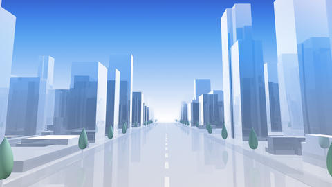 City Building Simple Modern Skyscraper business street background A1 sky 4k Animation