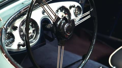 Close-up of black-metal steering wheel of vintage vehicle Live Action