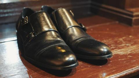Men's shoes. Close up of black leather men's shoes. Stylish black shoes for the Live Action