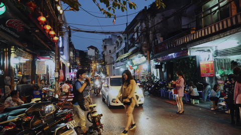 Everyday City Life With People And Traffic, Hanoi, Vietnam, Asia Live Action